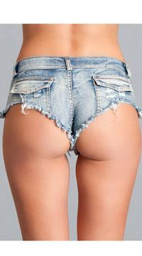 Light Denim Booty Shorts - Blue