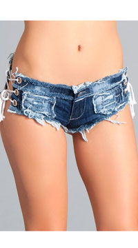 Laced Denim Booty Shorts - Blue