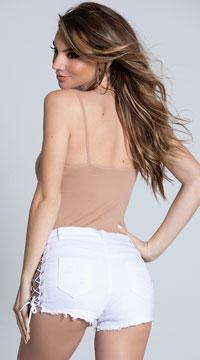 Destructive Lace-Up Denim Shorts - White