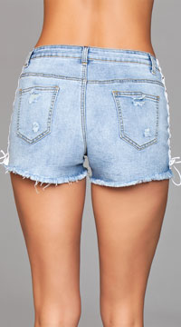 Lady Lace-Up Denim Shorts - Blue
