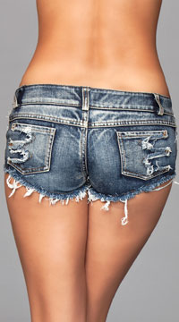 Claws Out Distressed Denim Shorts - Blue