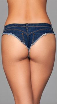 Dark Wash Denim Booty Shorts - Blue