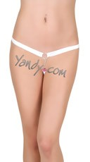 Crotchless Jeweled G-string - White