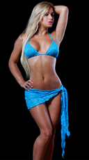 Sheer Lace Wrap - Turquoise