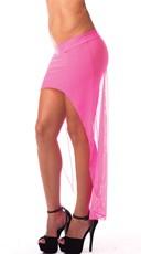 High Low Mesh Skirt - Neon Pink