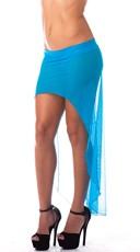 High Low Mesh Skirt - Turquoise