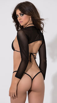 Cropped Mesh Shrug - Black