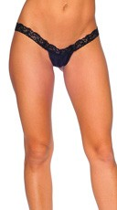 Lace and Lycra V Front G-String - Black