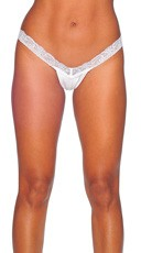 Lace and Lycra V Front G-String - White