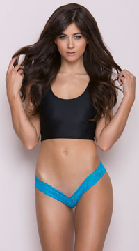 Lace V Front Thong - Turquoise