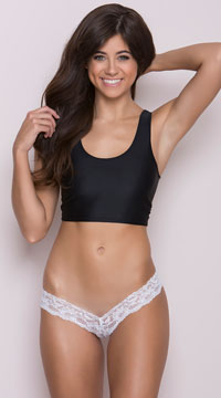 Lace V Front Thong - White