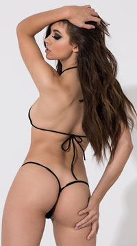 Low Back G-String with Chains - Black