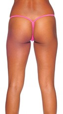Lycra G-String with Honeycomb Front - Neon Pink