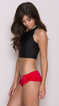 Scrunch Side Shorts - Red