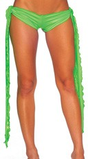 Low Rise Shorts with Extra Long Ties - Neon Green