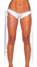 Low Rise Shorts with Extra Long Ties - White