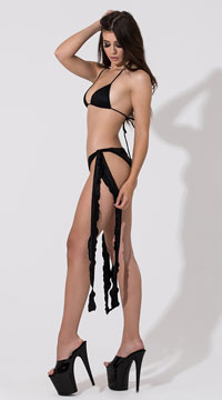 Low Rise Shorts with Extra Long Ties - Black