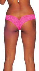 Lace Micro Thong - Neon Pink