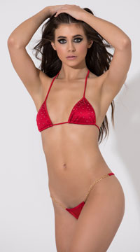 Low Back G-String with Chains - Red