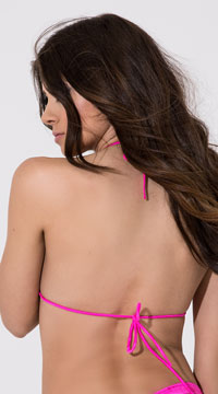 Triangle String Tie Top - Fuschia
