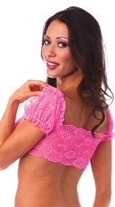 Lace School Girl Top - Neon Pink