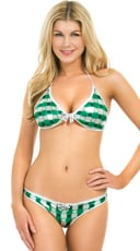 Metallic Green and White Shamrock Bikini - as shown