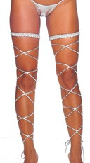 Metallic Garter and Leg Wrap Set - Silver