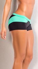 Splash Stretchy Neon Shorts - Teal/Black