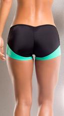 Neon Leopard Scrunch Back Shorts - Teal/Black