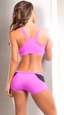 Neon Stretchy Sports Bra and Shorts Set - as shown