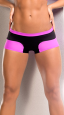 Neon Stretchy Shorts - Pink/Black