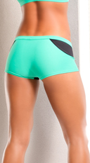 Neon Stretchy Shorts - Teal/Black