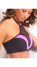 Leopard High Neck Sports Bra - Pink/Black