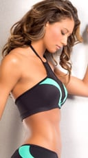 Leopard High Neck Sports Bra - Teal/Black