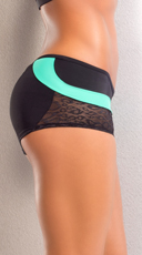 Leopard Scrunch Back Shorts - Teal/Black