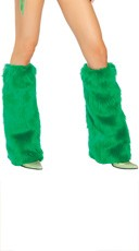 Faux Fur Leg Warmers - Kelly Green