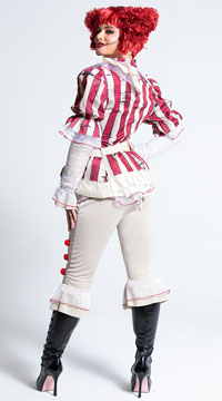 Sadistic Clown Costume - Red/Cream