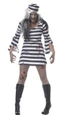 Sexy Convict Costume - Black/White