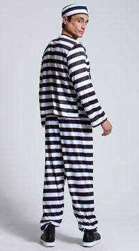 Men's Convict Costume - Black Pinstripe