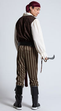 Men's Rogue Pirate Costume - Brown