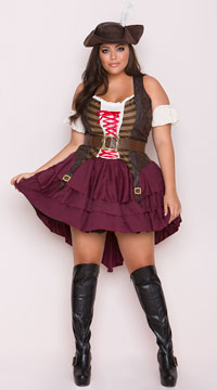 Plus Size Sexy Swashbuckler Costume - Burgundy/Brown