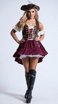 Sexy Swashbuckler Costume - Burgundy/Brown