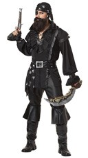 Mens Plundering Pirate Costume - Black