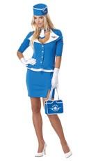 Retro Flight Attendant Costume - Blue