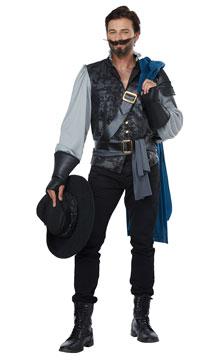 Deluxe Men's Musketeer Costume - Black/Teal