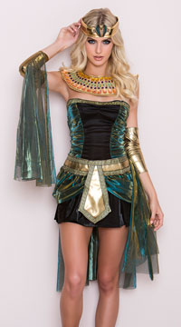 Egyptian Goddess Costume - Black/Teal