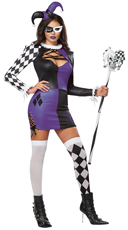 Naughty Jester Costume - Purple/Black