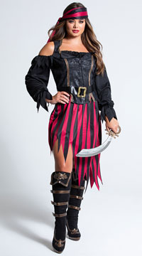 Queen of The High Seas Costume - Black/Burgundy