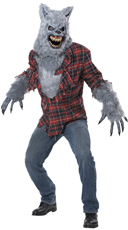 Men's Gray Lycan Costume - Red/Gray