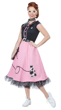 50's Sweetheart Costume - Black/Pink